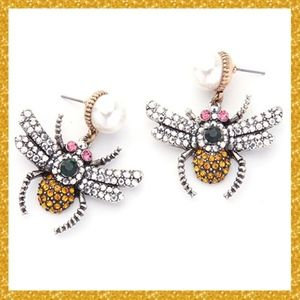 Bumblebee Crystal & Faux Pearl Bee drop Earrings